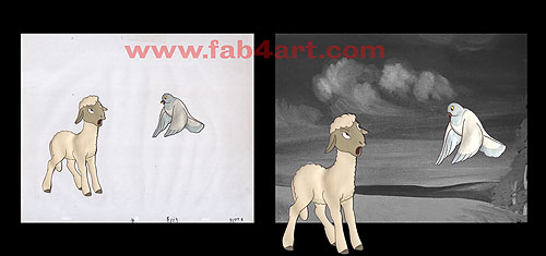 Animal Farm Cels (1954) - Lamb and Pigeon